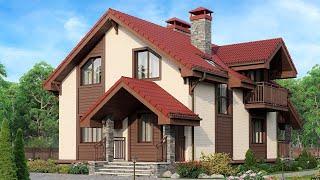 Проект дома в немецком стиле. Дом с мансардой, террасой и балконом. Ремстройсервис М-253