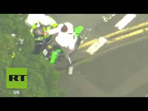 RAW: 80mph chase on illegally-ridden motorcycle