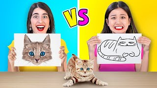 WHO DRAWS IT BETTER?    Crązy Art Challenge And Drawing Hacks By 123 GO! GOLD