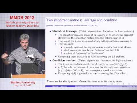 Implementing Randomized Matrix Algorithms in Parallel and Distributed Environments, Michael Mahoney