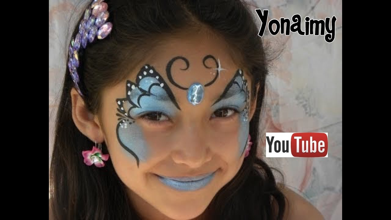 PINTACARITAS DE MARIPOSA AZUL FACEPAINTING BLUE BUTTERFLY  YouTube