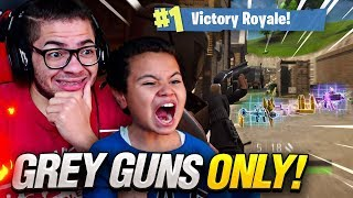 OMG GREY GUNS *ONLY* CHALLENGE WITH 9 YEAR OLD BROTHER in Fortnite: Battle Royale! (HARD)