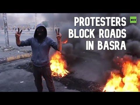 Iraqi Protesters Block Main Roads In Basra
