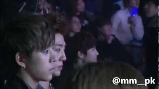"[HD Fancam] 130131 EXO-K + BAP reaction during 2NE1 ""I Love You"" (Sehun focus)"