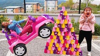 Masal Arabayla Bardak Piramitleri Yıktı! Colored Cups and Masal Ride On Power Wheel Children's Car