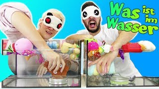KAAN & NINA greifen BLIND ins AQUARIUM! What's in the water? CHALLENGE mit Squishy Toys! Deutsch