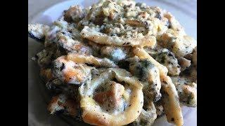 Морепродукты в сметанном соусе -  супер блюдо!