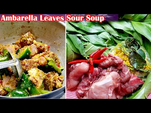 asian-food,-khmer-cooking-recipes,-ambarella-leaves-sour-soup,-home-food-factory