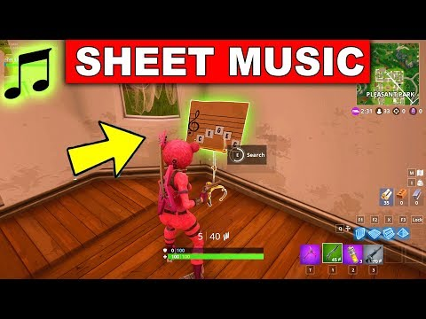 """Find the Sheet Music in Pleasant Park"" LOCATION WEEK  CHALLENGES Fortnite gattu"