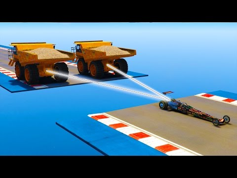 1 Dragster Vs 2 Camions Bennes Vs Avion de Chasse !
