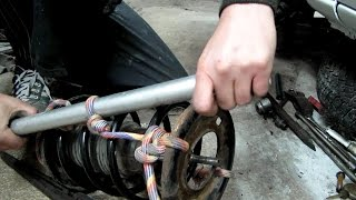 12≛ Замена пружины на стойке с помощью верёвки