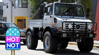 Arnold Schwarzenegger's UNIMOG Monster Truck! Action Star In Custom Mercedes Army Truck
