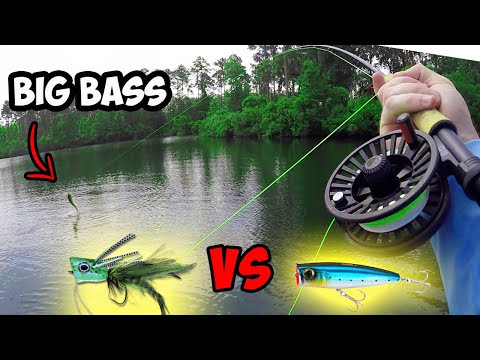 Fly Popper VS Normal Popper!  Which Is Better??? | Fly Fishing For Bass With A Popper!