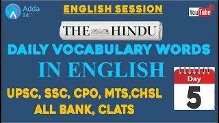 Daily Vocab at 9:00 (In English) | The Hindu (DAY-8) | UPSC, SSC, MTS, CHSL, BANK,