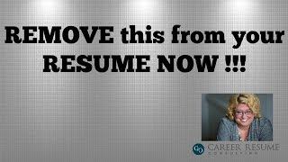 Resume Tips:10 Things to Remove in an Executive Resume or CV