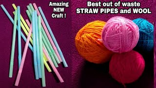 DIY Best out of Straw Pipes/Hanging Jhumar out of Straw Pipes &Wool