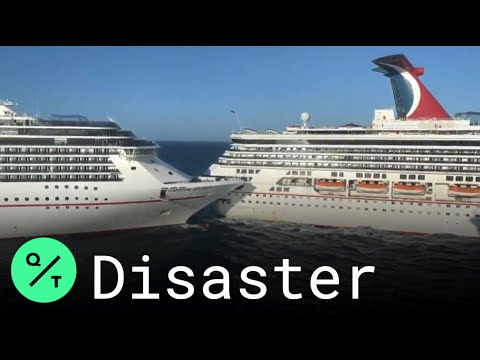 Two Carnival cruise ships collide in Mexico's Caribbean port of ...