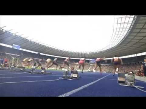2013 IAAF World Challenge Berlin women 100m dash - LaKeisha Lawson (11.18) upsets Verena Sailer