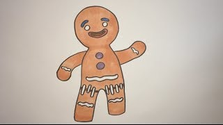 How To Draw Gingy The GingerBread Man From Shrek Step By Step
