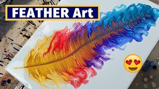 Easy Acrylic Pouring Technique - Feather Pour Painting | Fluid Art | Acrylic Painting