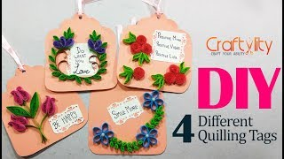DIY 4 different quilling tags | Beginners Quilling Flower tags | Quilling gift tags