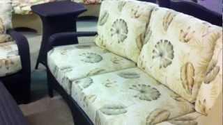 Brown Jordan Outdoor Wicker Sofa, Love Seat, Table, & Chair
