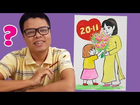vẽ tranh 20 tháng 11 - Dạy vẽ tranh ngày 20 tháng 11 ♥ Ngày nhà giáo Việt Nam ♥