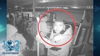 Exhiben cómo asaltantes lanzan líquido a cámaras para robar camión en la Morelos