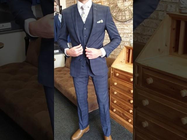 Airforce Blue Check 3pc Suit