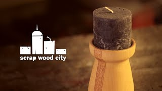 Making a turned candle holder out of lime tree and niangon wood
