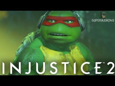 600 Damage Combo With Naked Raphael - Injustice 2 'Ninja Turtles' Gameplay
