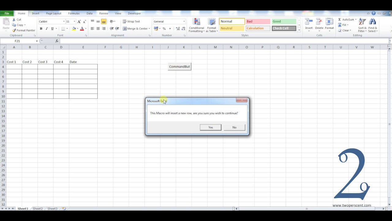 Adding A Yes No Message Box To Excel Vba Macros Youtube