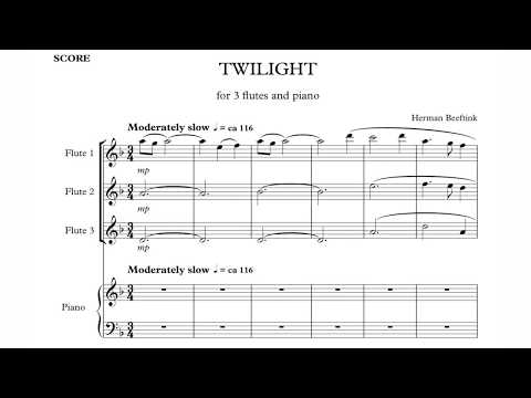 "Herman Beeftink ""Twilight"" (3 Flutes/piano) SHEETMUSIC"