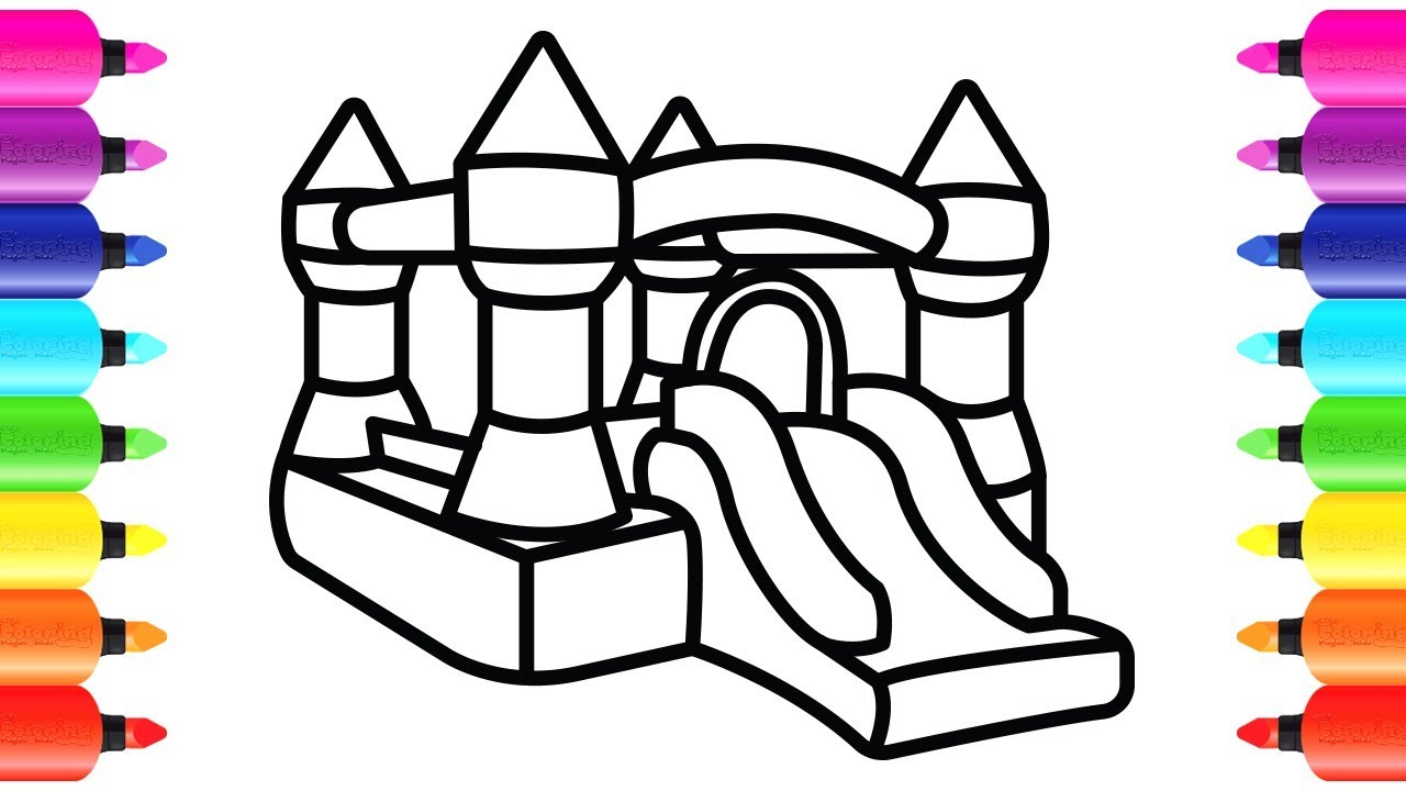 How to Draw Bouncy Castle Playground
