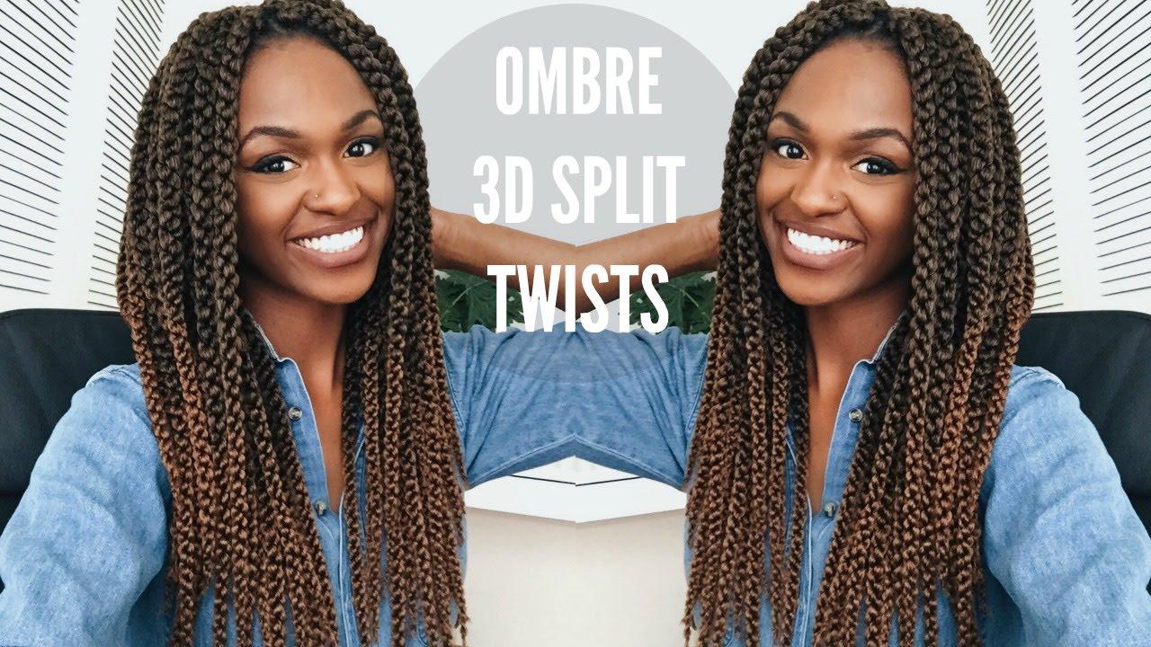 TUTORIAL Crochet Ombre 3D Split Twists Hair Care
