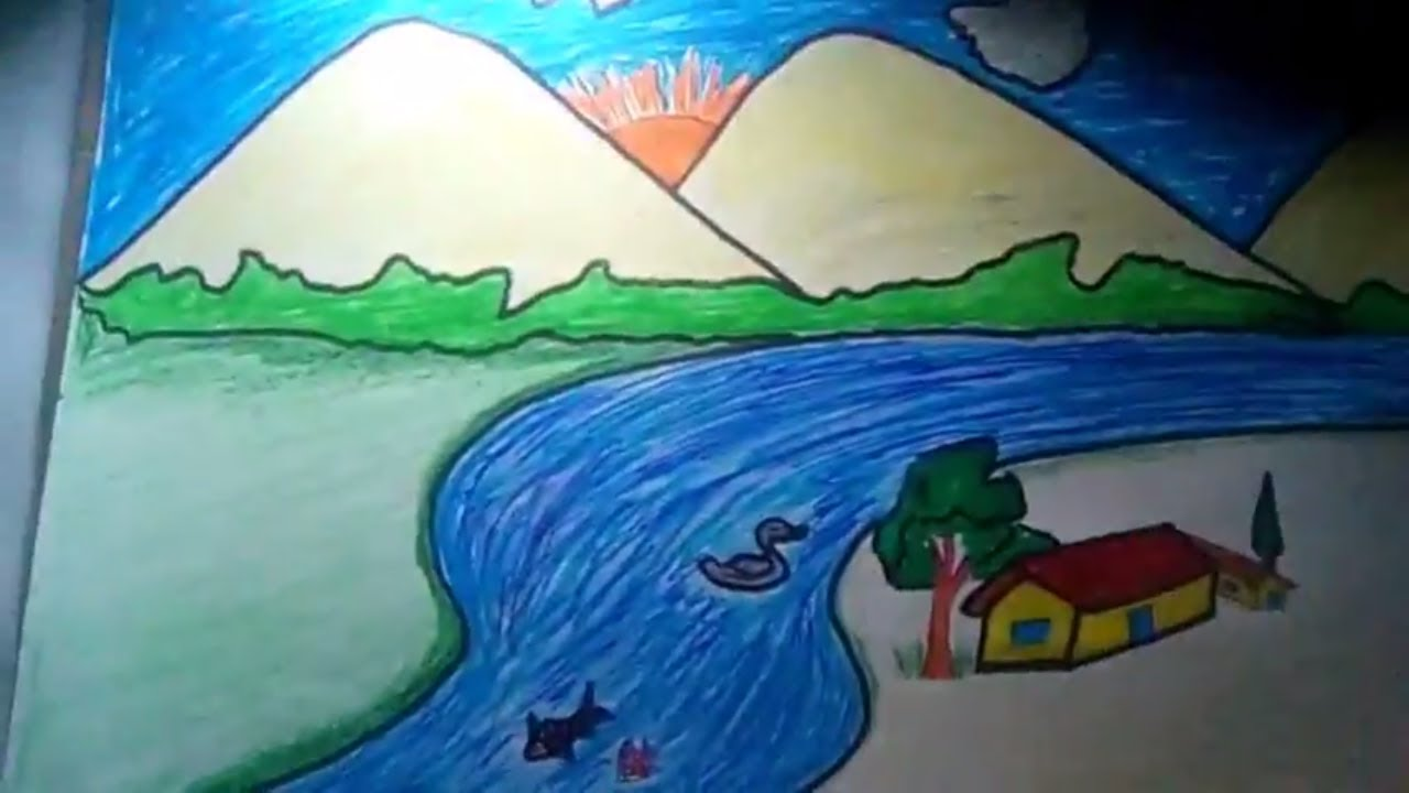 how to draw a scenery||coloring pages||easy drawing for kids - YouTube