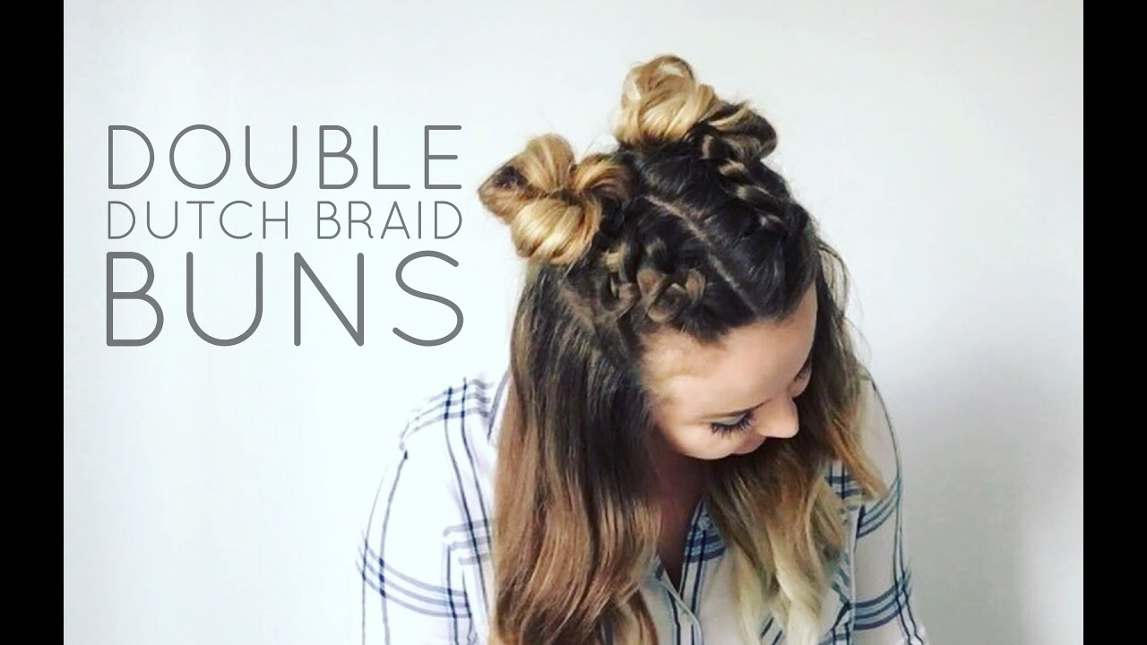 Double Dutch Braid Buns Half Up Hairstyle Youtube