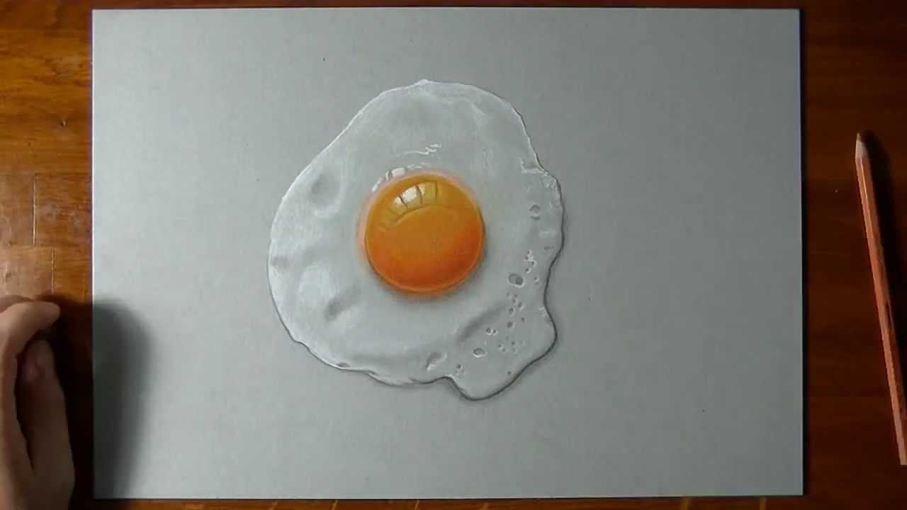 how to draw a fried egg
