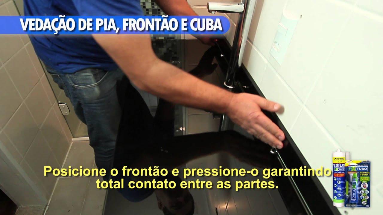 Adespec  Vedação de Pia, Frontão e Cuba  YouTube -> Cuba De Pia De Banheiro Oval