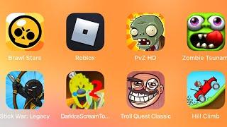 Brawl Stars,Roblox Granny 2,Plants vs Zombies,Zombie Tsunami,Stick War Legacy,Troll Quest Classic