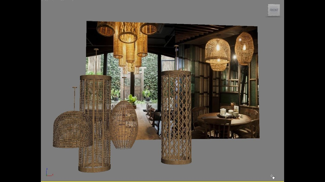 3DS MAX BASIC, MODELING RATTAN CELLING LAMP, DOWNLOAD 3D MODEL FREE ...