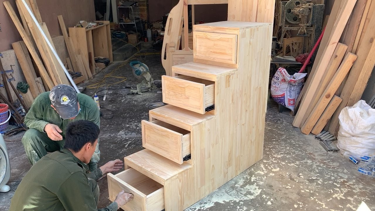 Amazing Woodworking Idea Bunk Bed Baby // Build Stairs With Storage Drawers For Bunk Bed Kids!