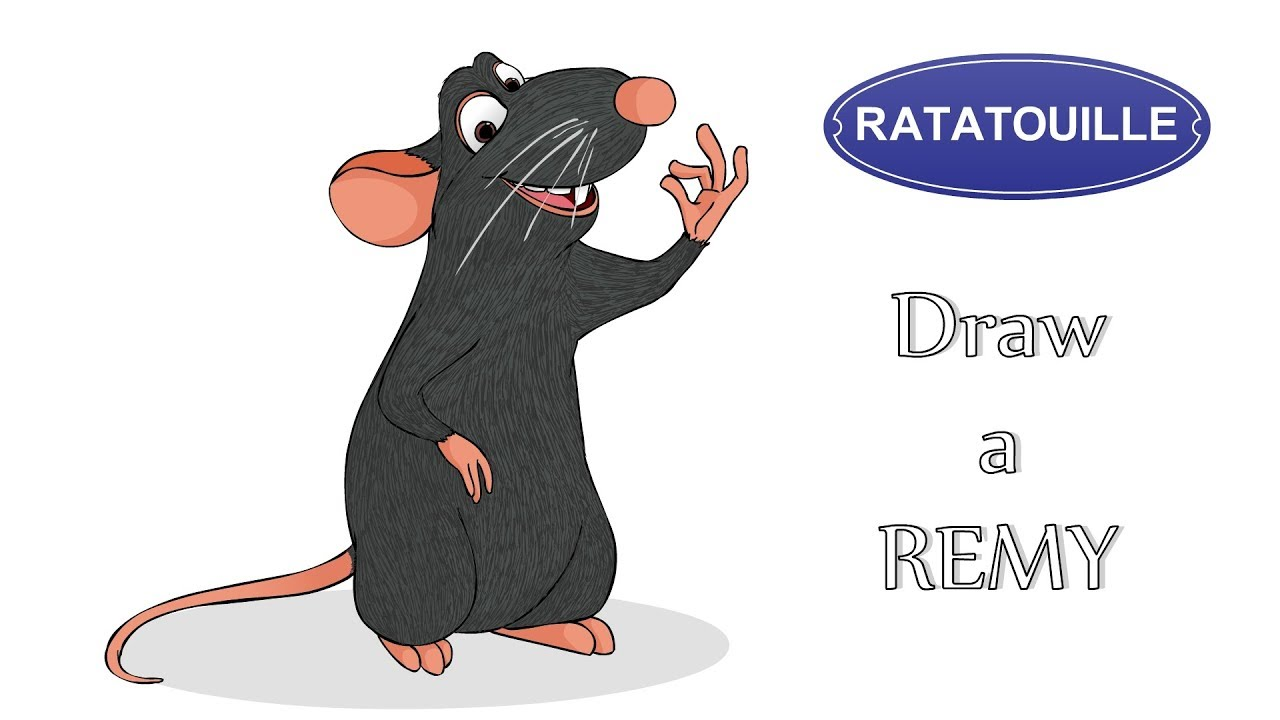 Draw A Cartoon Character Remy Ratatouille Character Drawing Step By Step Youtube
