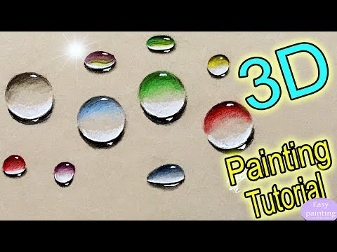 How to paint 3D WATER DROPLETS. Colorful DROPS / Bubbles / Marbles Painting Tutorial Step by Step