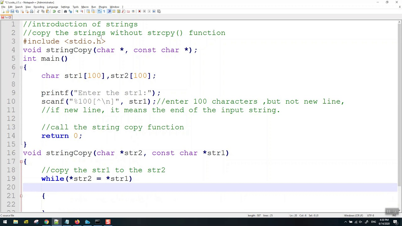 Strings copy function without strcpy in C Programming ...
