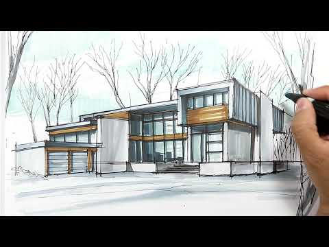 architectural sketching house 3