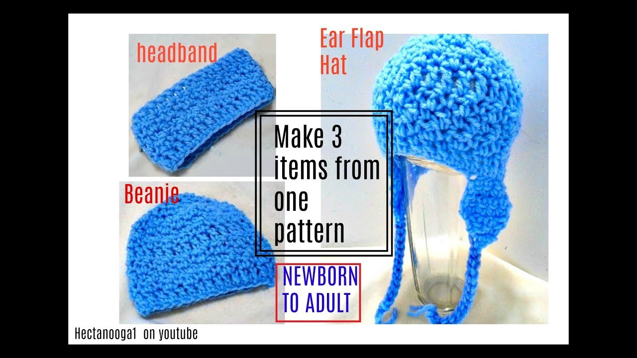 Learn To Crochet A Headband Beanie Hat And Ear Flap Hat Free