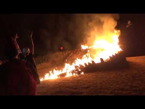 Austin James - Massive 80 foot gator bonfire burns on Christmas Eve 2019
