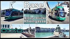Tram Basel / Mittlere Brücke und Rheingasse / Schweiz 2019