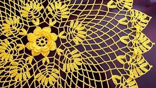 КРУГЛАЯ АЖУРНАЯ САЛФЕТКА КРЮЧКОМ. ДИАМЕТР 53 см.  Doily crochet(, 2016-07-22T09:23:18.000Z)